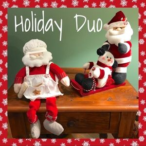 Other - Holiday duo of Christmas Santas and snowman